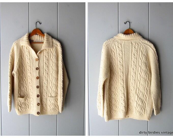 Natural Wool Fishermans Cardigan M/L