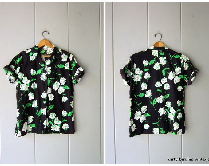 60s Floral Button Up TShirt