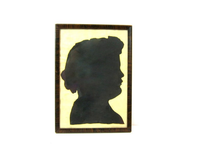 Black Hand Cut Paper Child's Silhouette Photo Framed Vintage Kids Portrait Vintage Home Decor Art 18.5 x 13