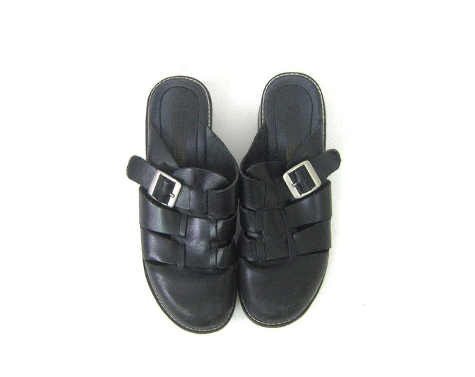 Leather Sandals   Black Leather Slip On Shoes   Boho Hippie Sandals Closed Toe Buckled Clogs Grunge Summer Shoes Womens Strappy Mules Size 9