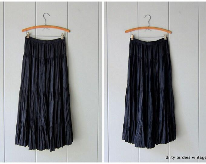 Black Silk Skirt - Small
