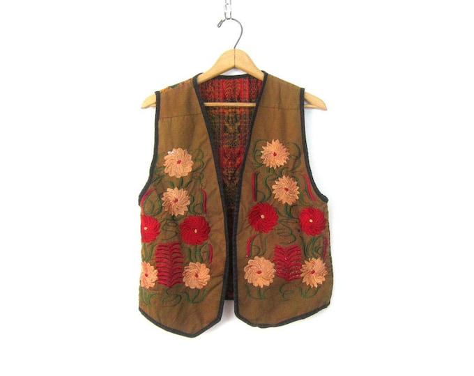 Embroidered Vest Top Cotton Embroidered Vest Vintage Floral Embroidery Top Ethnic Boho Preppy Vest Tee Womens Medium