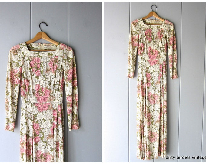 70s Long Floral Dress XS Small