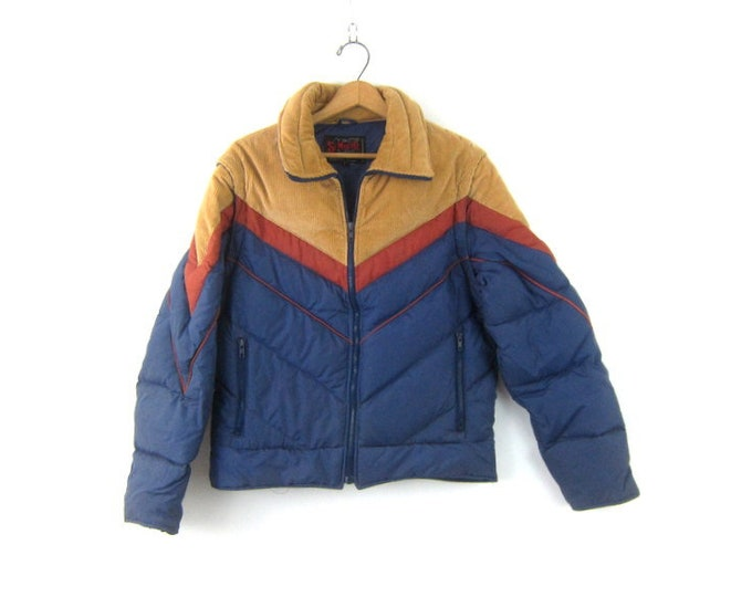Down Feathers Puffy Coat or Vest Blue Winter Corduroy Puffer Jacket Retro 1980s Zipper Up Winter Coat Tomboy Vest Jacket Coat Size Medium