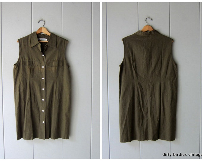Army Green Safari Dress - Large