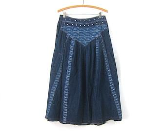 79713647 Long Jean Skirt Long Blue Denim Boho Prairie skirt Cowgirl Skirt Vintage  Women's Size 29 Inch Waist Medium Large