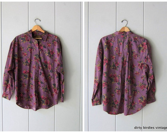90s Purple Floral Blouse Button Up Eddie Bauer Oxford Shirt Long Sleeve Cotton Top Preppy Fall Casual Shirt Mens Large Womens XL