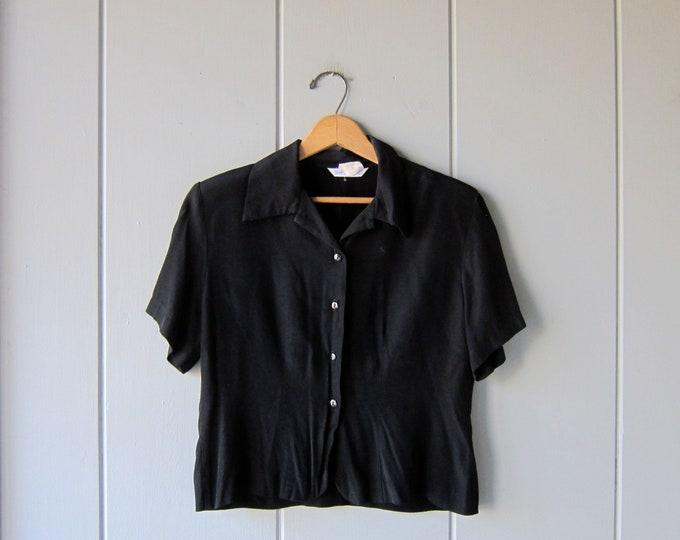 80s Black Crop Top Cropped Minimal Button Up Short Sleeve BOXY Tee Modern Neutral Basic Shirt Vintage Womens Medium