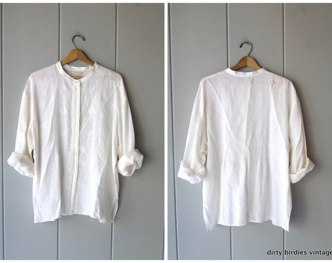 Embroidered Linen Blouse - XL