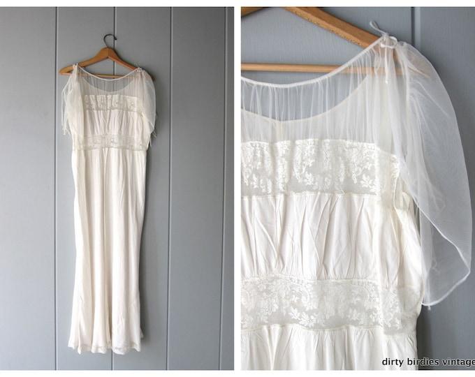 White Vintage Slip Long Lace Pin Up Lingerie Full Length 50s Slip Dress Hollywood Glamour Wedding Gown Women's Size 40
