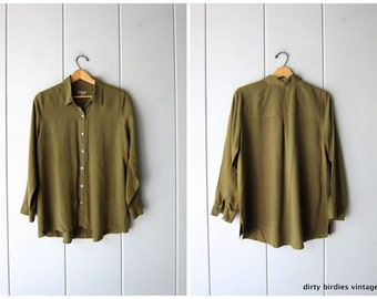 c3f5fd0e805efe 90s Olive Green Silk Blouse Vintage Button Up Shirt Minimal Modern Long  Sleeve Silk Top Blouse Womens Medium