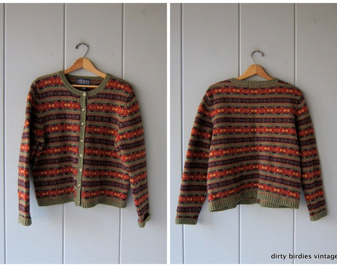 Wool Knit HARVEST Sweater 90s Striped Cardigan Wool Knit Sweater Preppy Button Up Sweater Womens XL