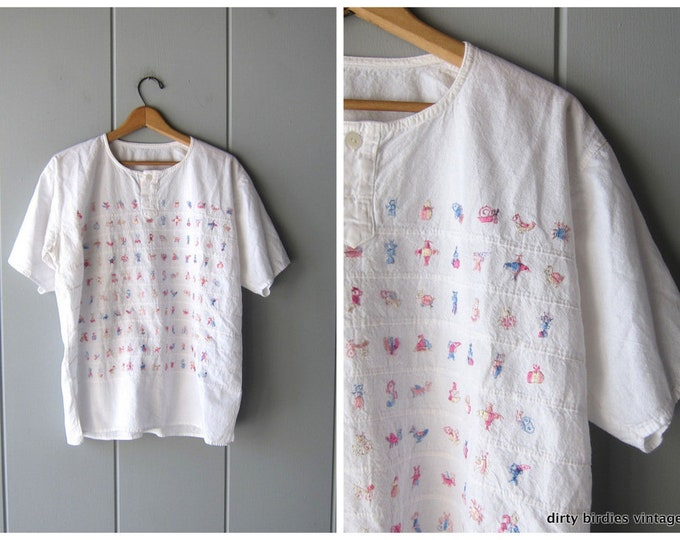 Embroidered Mexican Shirt Natural White Cotton Tee Short Sleeve Ethnic Top Colorful Graphic Beach Oversized Boho Tshirt