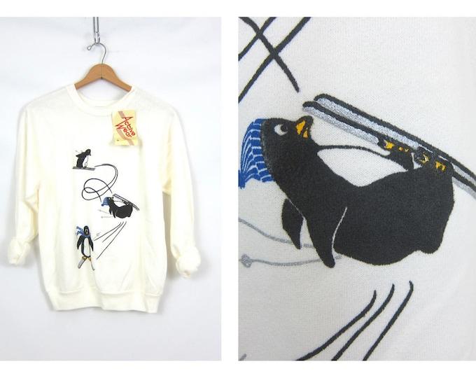 Penguin sweatshirt White Painted Ski Sweater Vintage 1980s Retro Hipster Novelty Skiing Bird sweatshirt Women's Size Large XL