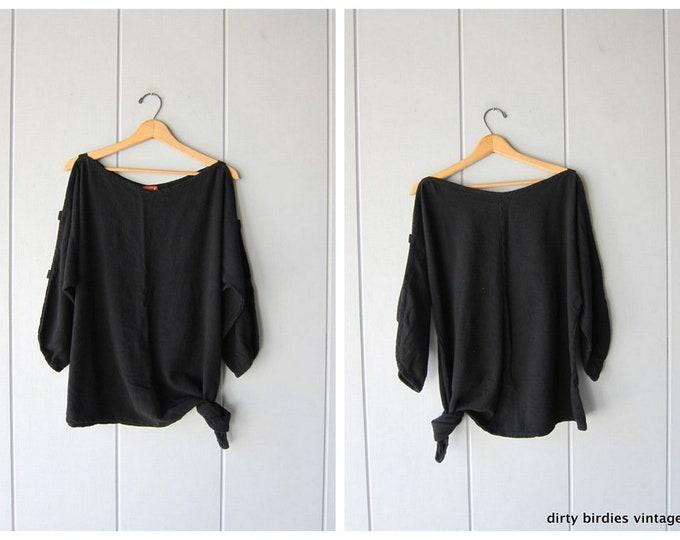 Cutwork Tie Up Top Basic Black Cotton Shirt Quarter Length Open Sleeved Boxy Minimal Oversized 90s Shirt Vintage OH MY GAUZE Womens L Xl