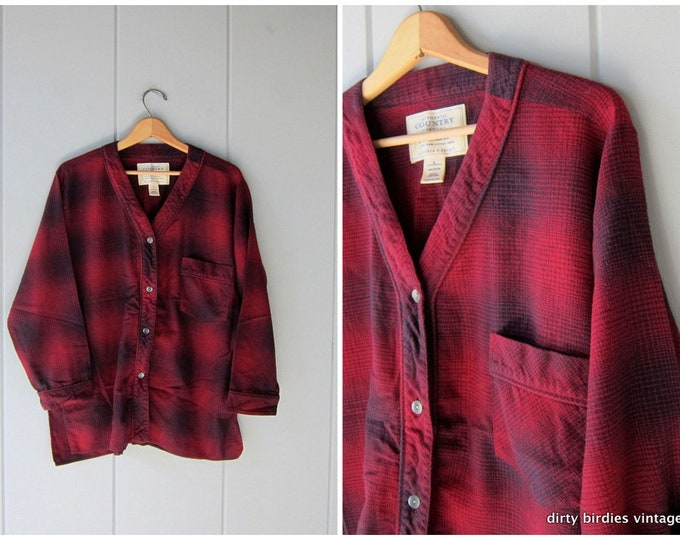Slouchy Plaid Flannel Shirt - Small