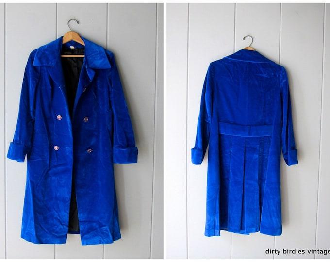Velvet Blue 60s Coat - S/M