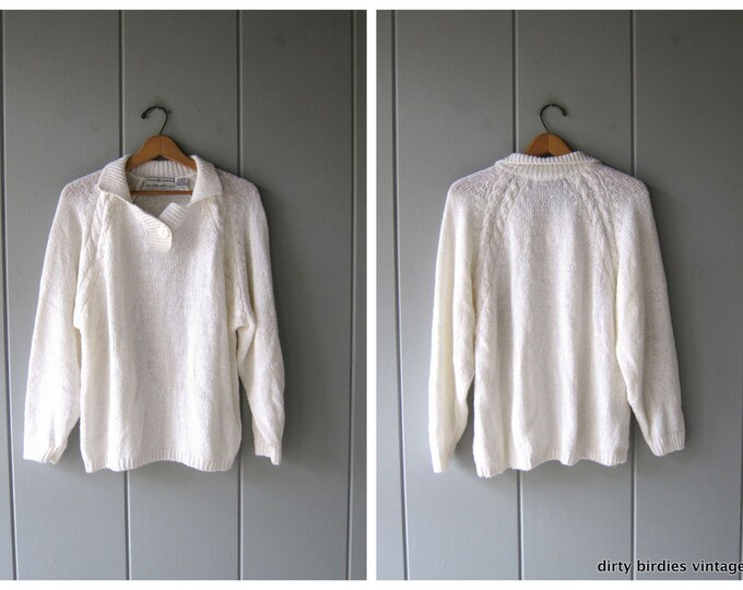 80s Simple White Sweater