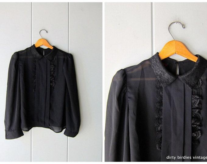 Black Lace Blouse - Medium