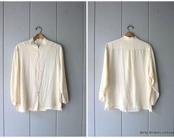 9eac7014 Cream White Silk Blouse Loose Fit 80s Long Sleeve Silk Shirt Basic Minimal  Collarless Casual Top Womens Large 12