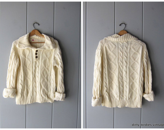 Fishermans Sweater Oversized White Cream Henley Sweater Vintage 80s Chunky Knit Pullover Cable Knit Womens XL Large