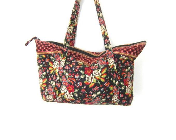 Vintage Floral Print Fabric Suitcase Vera Bradley Tapestry Bag Double Strap Boho Travel Shoulder Luggage Purse Flower Pattern Shoulder Bag