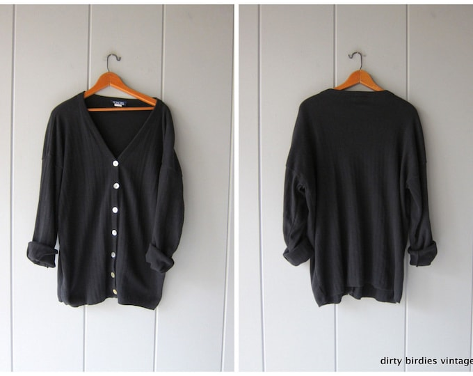 80s Black Cardigan Oversized Thin Cotton Sweater Basic Knit Button Up Slouchy Jumper Vintage Grunge Sweatshirt