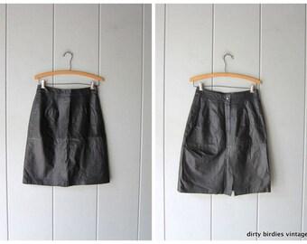 c4d7e2e4c42c 80s Black Leather Skirt Vintage Leather Pencil Skirt High Waist Pocket Skirt  Rocker Punk Women's Small