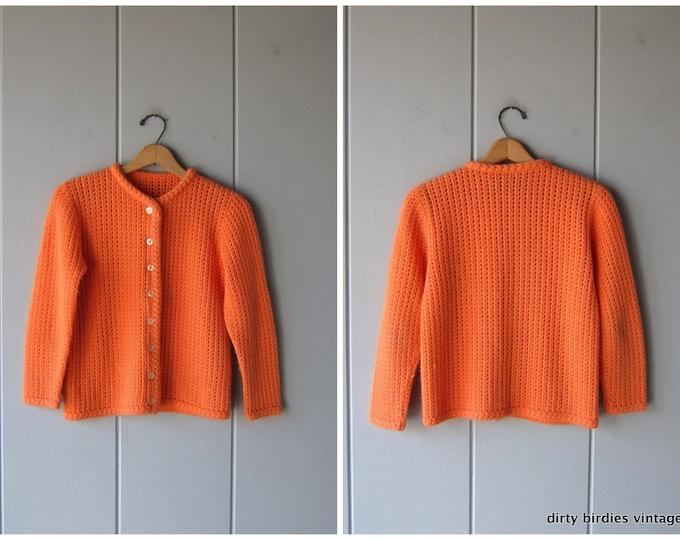 Open Knit Crochet Sweater 60s Button Up Orange Cardigan Lightweight Hand Knit Retro Granny Sweater Womens Small Medium