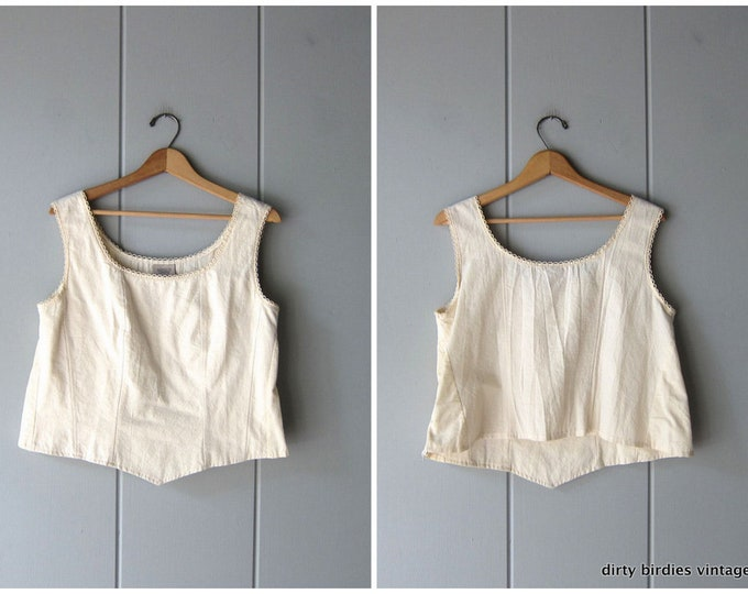 Textured Cotton Crop Top - L/XL