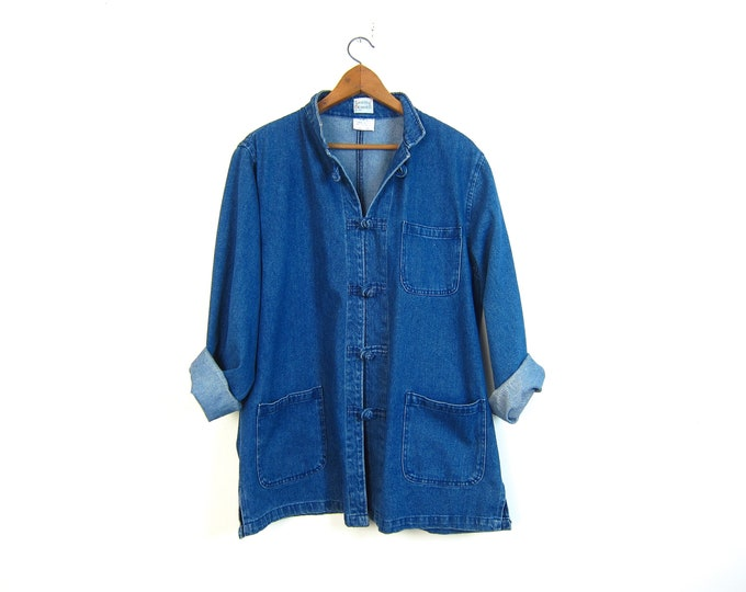 Vintage 90s Barn Jacket Dark Wash Long Denim Kimono Jean Jacket Chore Coat Preppy Frog Knot Buttons Womens Large