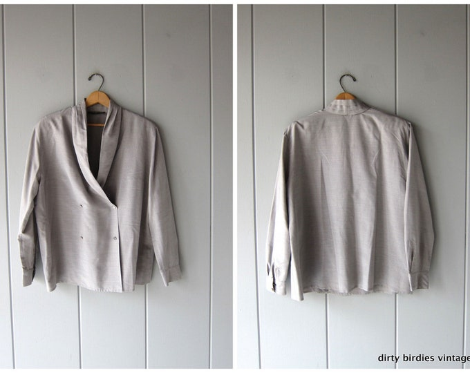 Louis Feraud Blouse | 80s Grey Button Up | Modern Secretary Shirt Minimal Poly Oxford Long Sleeve Shirt Women 14 XL Large