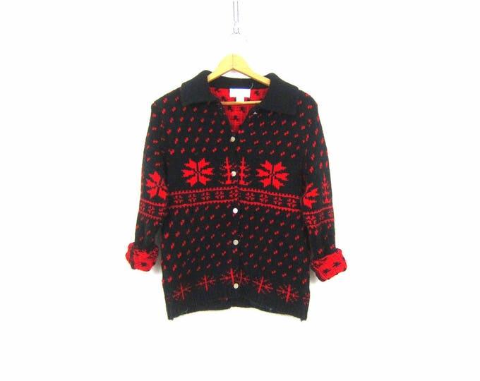 Snowflake Cardigan Sweater Vintage Retro Red & Black Button Up Sweater Knit Cardigan Ski Sweater Tally Ho Womens Winter Sweater Medium Large