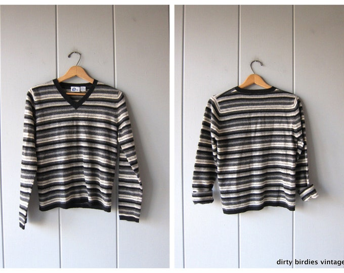Striped Thin Knit Lambswool Sweater Top Black Gray Stripe Long Sleeve Thin Sweater 90s Vintage Wool Pullover Medium