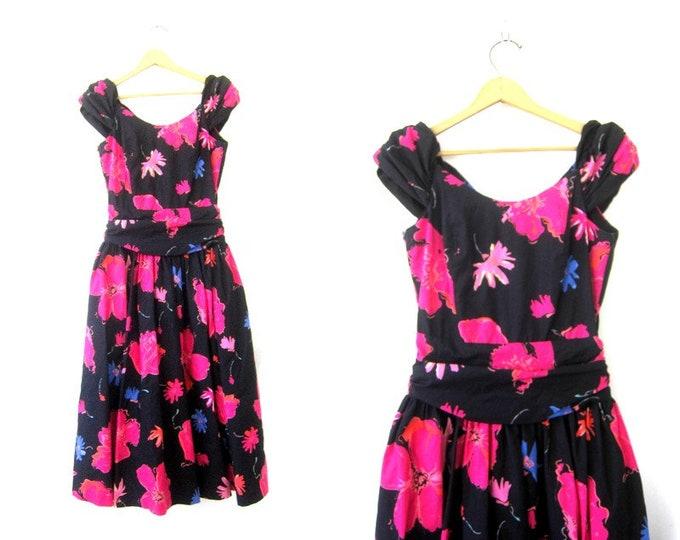Black & Pink PARTY Dress vintage 90s Laura Ashley floral Print Summer Dress Cotton TULLE Flower Pattern Dress Women's Size 12