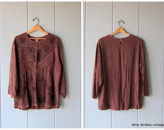 Vintage Indian Tunic Top Brown Hippie Shirt Ethnic Festival Blouse Floral Embroidered India Top Oversized Tunic Top Womens Large XL