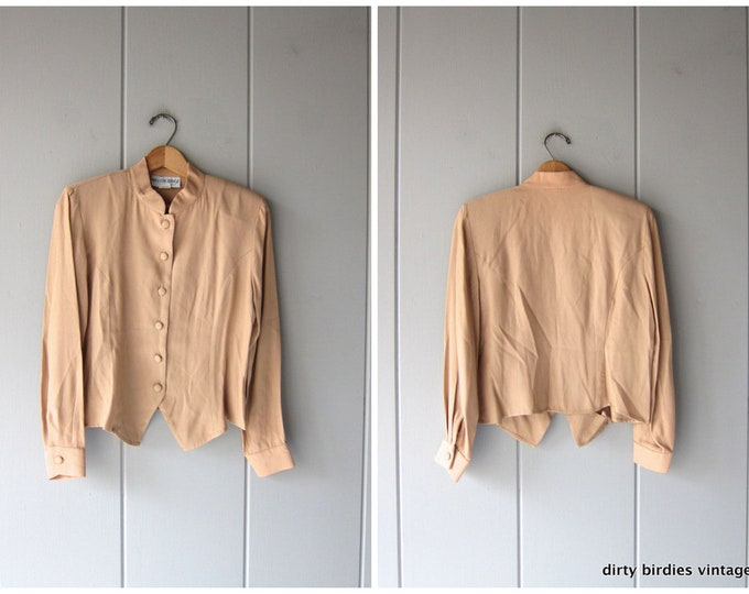 90s Minimal Top Beige Cropped Button Up Long Sleeve Tee 80s Modern Neutral Basic Shirt Vintage Womens Small Medium 6P