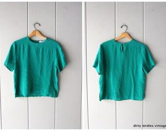 c51d631b3ff656 Emerald Green Silk Top 90s Boxy Minimal Silk Blouse Vintage Cropped Modern Silk  Top Womens Medium