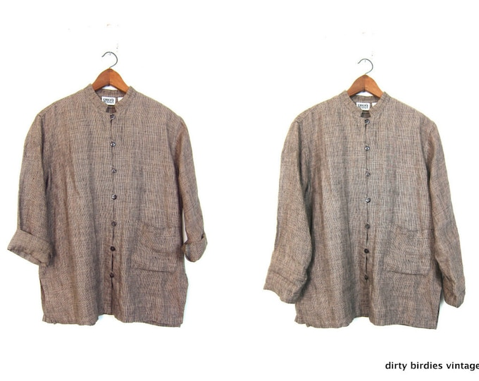 Linen Button Up Blouse 90s Modern Tunic Top Minimal Casual Oversized Shirt with Pocket Vintage Womens Large XL
