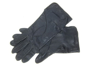 9c2f08df0 Dark Blue Leather Gloves Vintage Driving Gloves Dress Up Retro 1960s Women's  Size Small 6.5