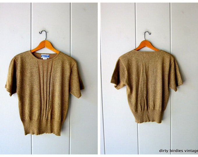 Metallic Gold Knit Top - M