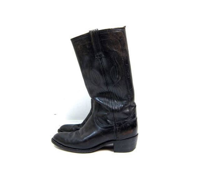 FRYE Boots 70s Tall Leather Boots Motorcycle Cowboy 70s Black Leather Boots Vintage Antiqued Western Pull Ups Fryes Mens Size 10 D