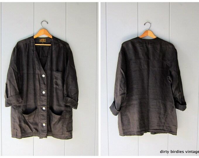 Oversized Black Linen Jacket