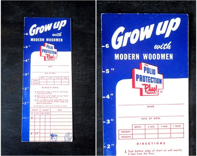 Grow Up with Modern Modern Woodmen Growth Chart Vintage Paper Advertising Polio Protection Plus 1950s Paper Ephemera Scrapbooking