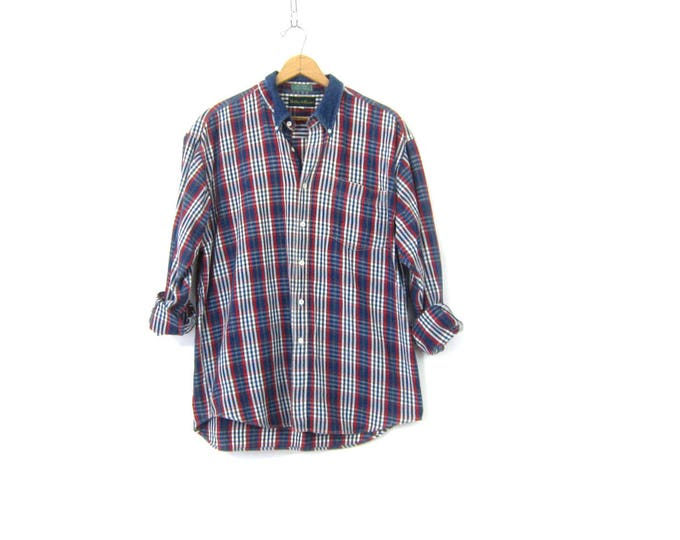 90s Plaid Denim Shirt Oversized Heavy Cotton Fall Shirt Workwear Preppy Rugged Boyfriend Shirt Blue Red Mens Large
