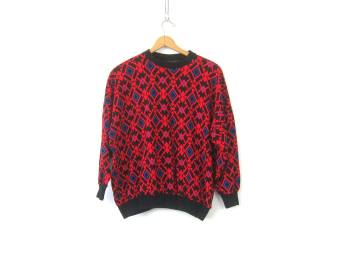 Retro Sweatshirt Red and Black Pattern Sweatshirt Slouchy 1980s pullover Casual Hipster Indie Top Women's Size XL 2X