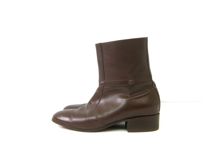 Vintage men's Boots Brown leather Side Zipper ankle boots Hipster Beatle Boots Men's Size 8 US 27 Mexico