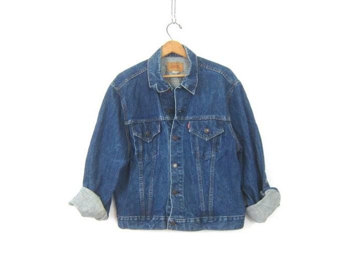Dark Wash Blue Levis Jean Jacket Coat Vintage Jacket Hipster Grunge Mens Size 50 Extra Large XL