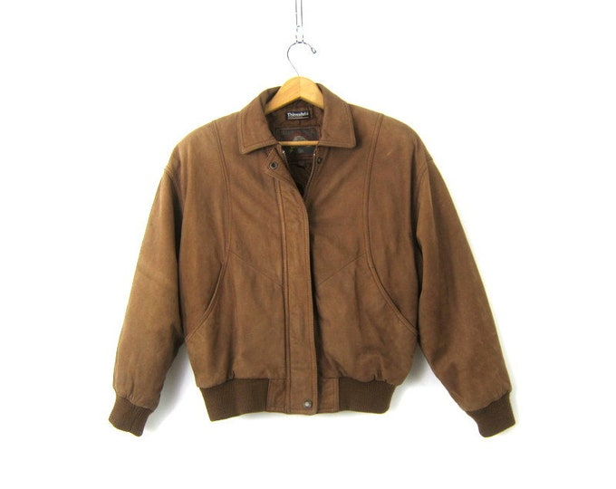 Brown Leather Bomber Coat Vintage Bomber Jacket 90s Winter Revival Coat Zipper Jacket Women's Size Small