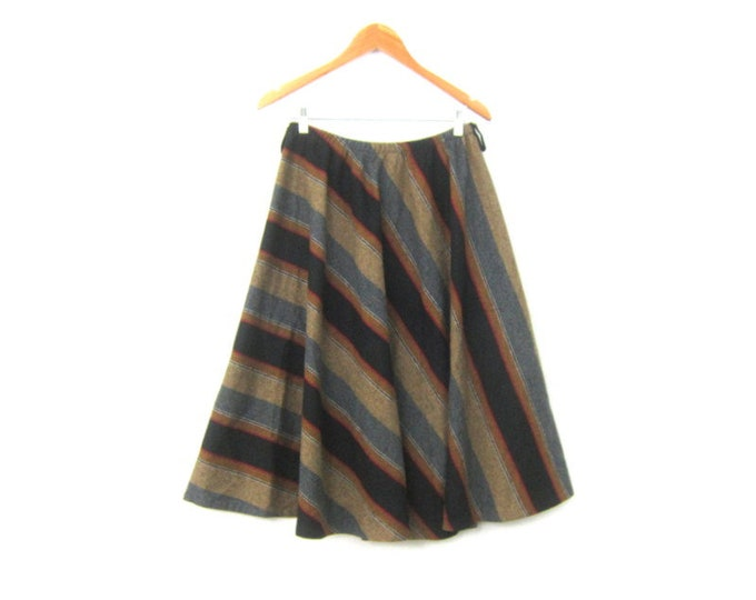 Black & Brown Skirt Vintage Elastic Waist Below the Knee Length Prep School Modern Minimal Fall Skirt Boho Chic Flared Skirt Women's Large
